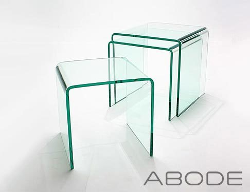 Nest of 3 Glass Side Tables - Glass Nesting Tables - Glass Furniture