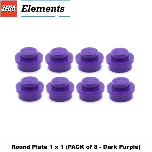 Lego Parts: Round Plate 1 x 1 (PACK of 8 - Dark Purple) (Ninja Turtle Kraang Lab Escape compare prices)