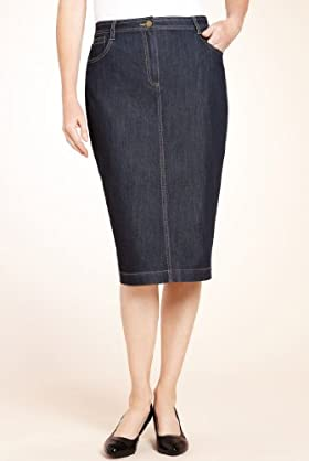 classic collection knee length denim pencil skirt t58