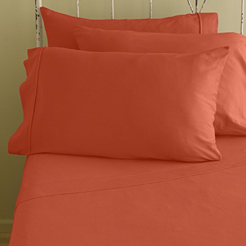 400 Thread Count Extra Large Deep 18 Inches 4-Piece Bed Soft Sheet Set 100% Egyptian Cotton Solid ( King , Orange ) Made By Srp Linen front-1036561