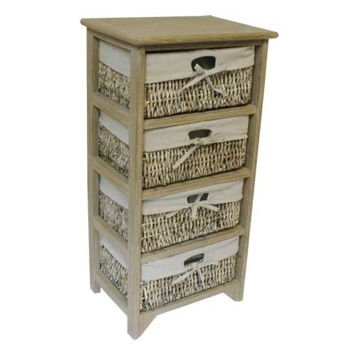 JVL 4-Drawer Unit with Lined Maize Drawers, 38 x 27.5 x 76 cm, Earth
