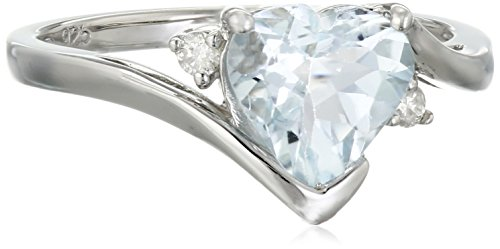 Sterling Silver Aquamarine and Diamond Heart Ring, Size 8