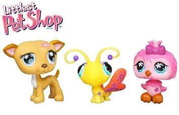 Hasbro - 667671480 - Tube De 3 PetShop - Chouette Rose - Papillon Jaune - Chien Beige avec la Fleur - 63985