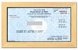 Real Estate License Certificate Wood Frame - 8.5 x 5.5 Inches - Natural Wood