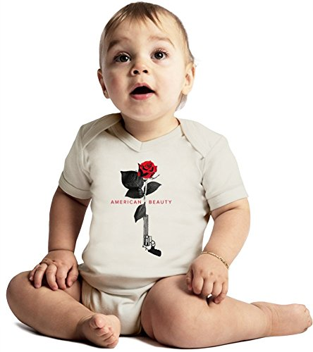 American beauty movie poster Amazing Quality Baby Bodysuit by True Fans Apparel - Made From 100% Organic Cotton- Super Soft V-Neck Style - Unisex Design- Perfect As A Present 6-12 months