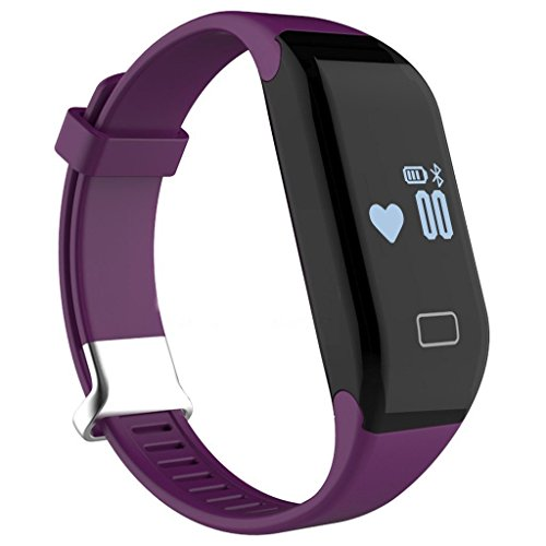 Pard Kids Fitness Tracker, Bluetooth 4.0 Heart Rate Monitor Smart Bracelet for Android iOS Smartphone, Purple