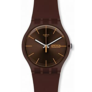 Swatch Originals Cacao Rebels Brown Dial Brown Silicone Mens Watch SUOC703