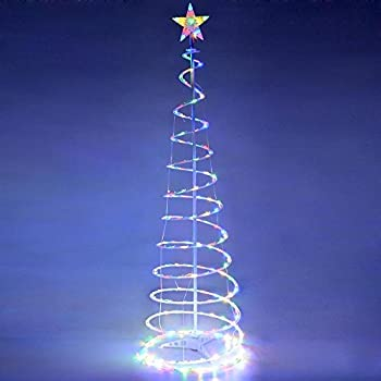 6ft Flashing LED Spiral Tree Light Indoor Outdoor Yard 182 Bulbs 7 Attractive Lighting Effects Christmas Art Decoration Lamp