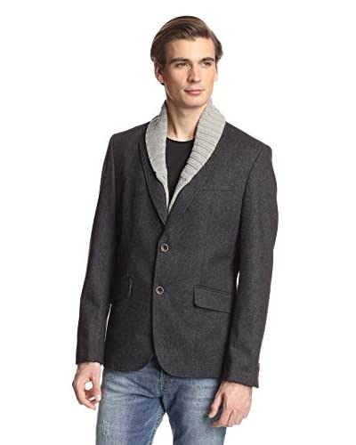 Desigual Men's Herringbone Blazer with Shawl Collar