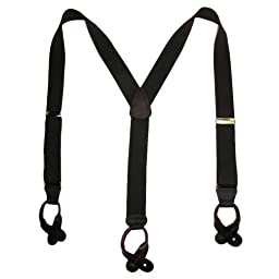 CTM® Mens Elastic Button End Suspenders (Tall Available), X-Long, Brown