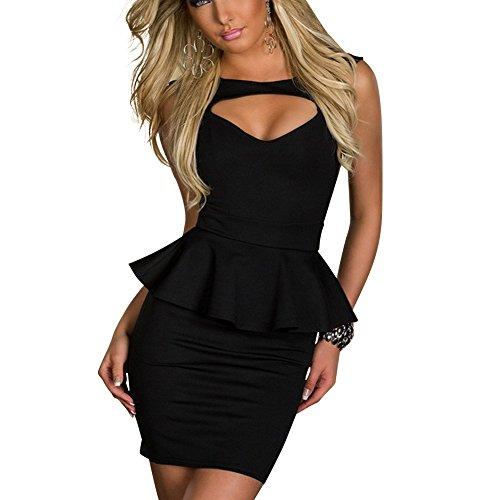 Keral Beauty Online Hollow-out Chest Peplum Sexy Women Dress_Black_L