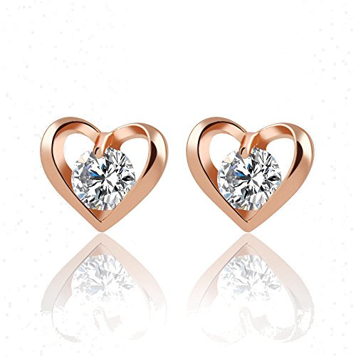 Fashion 18k Gold Silver Plated Heart Shaped Cubic Zirconia Stud Earrings ( Gold ) (Luna Bars Mini compare prices)