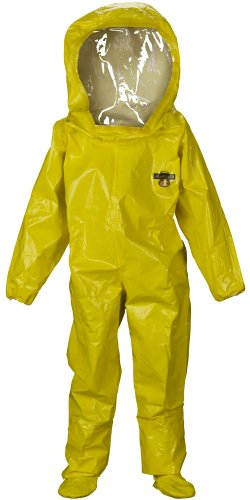Lakeland ChemMax 4 TES Level B Taped Seam Encapsulated Suit with Expanded Back and Back Entry, Disposable, Elastic Cuff, X-Large, Yellow