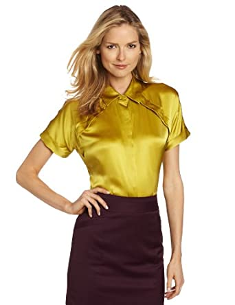 Pendleton Women's Silk Tuck It Up Blouse, Golden Olive, 4