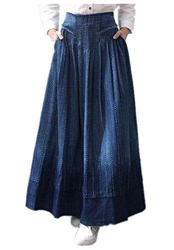 Skirt BL Women's Elegant Blue Casual A line Ankle Length Long Denim Maxi Skirt Denim Maxi Skirt