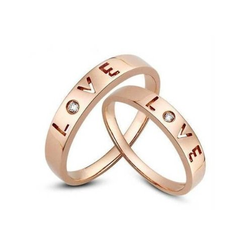 ... Affordable Love Couple Wedding Band for Him and Her on Rose Gold