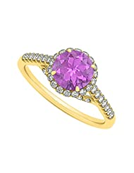 Amethyst And CZ Specially Designed Cool Engagement Ring In Yellow Gold Plated Vermeil Unique Design