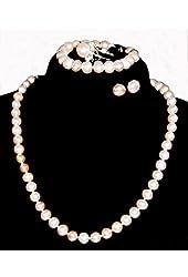 "8.0~10.0mm Freshwater Cultured Lavender Pearl Necklace (16.0"" length)/Bracelet (7.5"" length)/Ring/Earring Set"