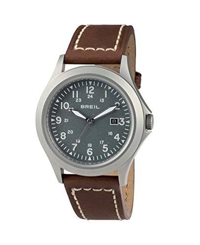 Watch Breil Army SS Man Steel TW1482 Grey Leather Strap Brown