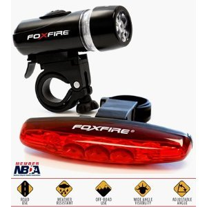 FoxFire Bike Light Combo 5 LED Headlight & 5 LED Tail Light
