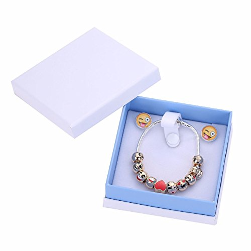 Emoji Charm Bracelet & Earrings inside a decorative Gift Box. 18K Gold plated Charms. Silver coated Bracelet. Great Christmas gift to any Emoji Lover.