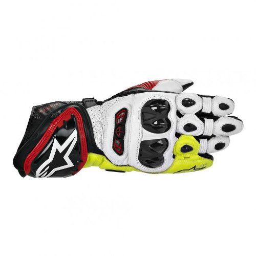 Alpinestars GP Tech Leather Gloves , Gender: Mens/Unisex, Primary Color: Black, Size: XL, Distinct Name: Black/Red/Flourescent Yellow, Apparel Material: Leather 3556613-136-XL