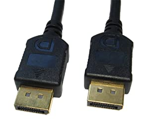 1m Premier DisplayPort Cable ~ 24k Gold Plated ~ Black Coloured ~ High Definition ~ Home Theatre ~ Video Lead ~ Computer/PC to TV/Monitor ~ 20-pin ~Display Port