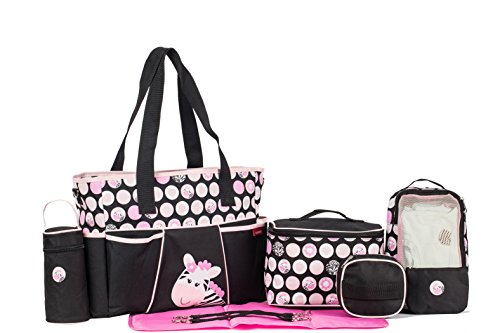 SoHo Pink Zebra diaper bag 9 pieces Set - 1