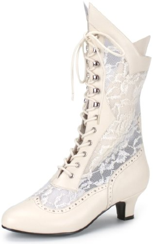 """***Ivory Pu-Lace Victorian Ankle Boot, 2"""""""