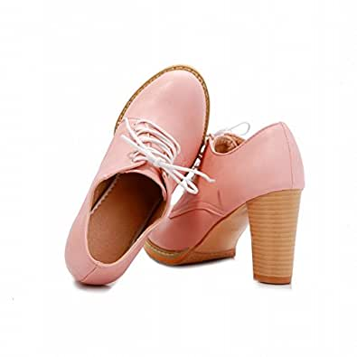 latasa s chic high heel chuky lace up oxford shoes