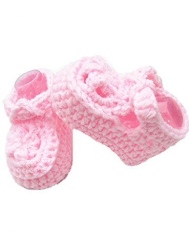 Soyagift Newborn baby Hand knitted booties with Buckle, wool soft-soled Boots