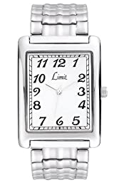 Limit Men's Rectangular Silver Coloured Expander Braclet Watch 5330.5 With A Full Figure, Easy To Read White Dial