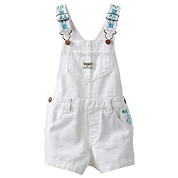 Carters Baby Girl White Embroidered Shortalls (9 months)