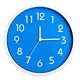 Binwo Modern Colorful Stylish Elegant Silent Non-ticking Home Kitchen/Living Room Wall Clock 10 Inches (Blue)--2nd Generation