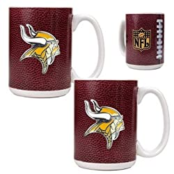 Minnesota Vikings 2pc 15oz Gameball Ceramic Mug Set - Primary logo NFL Football