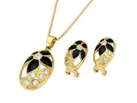 Gold Plated Black Flower Oval Pendant & Chain with Matching Earrings Fashion Jewelry Set