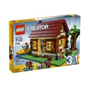 Toy / Game Awesome Lego Creator Log Cabin 5766 With Removable, Unique Dark Red Roof And Hinging Wall Section front-1076294