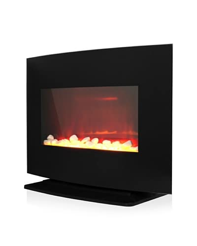 Warm House Black Curved Glass Electric Fireplace Heater As You See