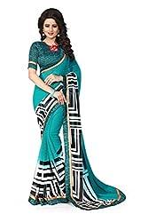 Drapme Floral Print Green Chiffon Saree with Designer Printed Blouse
