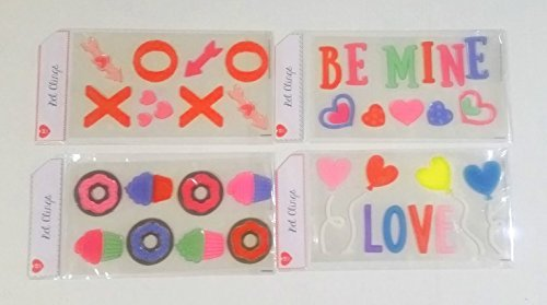 Valentines Day Window Gel Clings- XOXO, Be Mine, Love, and Desserts-47 Total Pieces