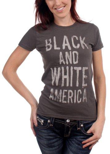 Lenny Kravitz-Maglietta da donna nero e bianco America in carbone Coal Medium