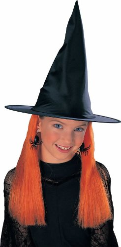 Kids Witch Hat with Orange Hair