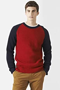 Wool Blend Color Block Crewneck Sweater