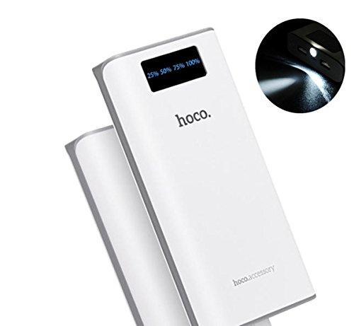 TSUNEO  モバイルバッテリー 20000mAh 超大容量 【充電約10回】 二つのUSBポート LEDライタ搭載 2.1A出力 急速充電 iPhone/iPad/Galaxy/Xperia/Android/各種スマホ対応 白色