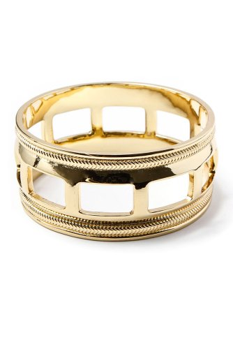 Belle Noel - Cuff Bangle with Chain Detailing (Gold)
