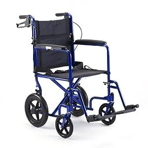 Invacare Lightweight Aluminum Transport Chair with 12 in Rear Wheels - Blue Aluminum Transport Chair - ALB19HBFR