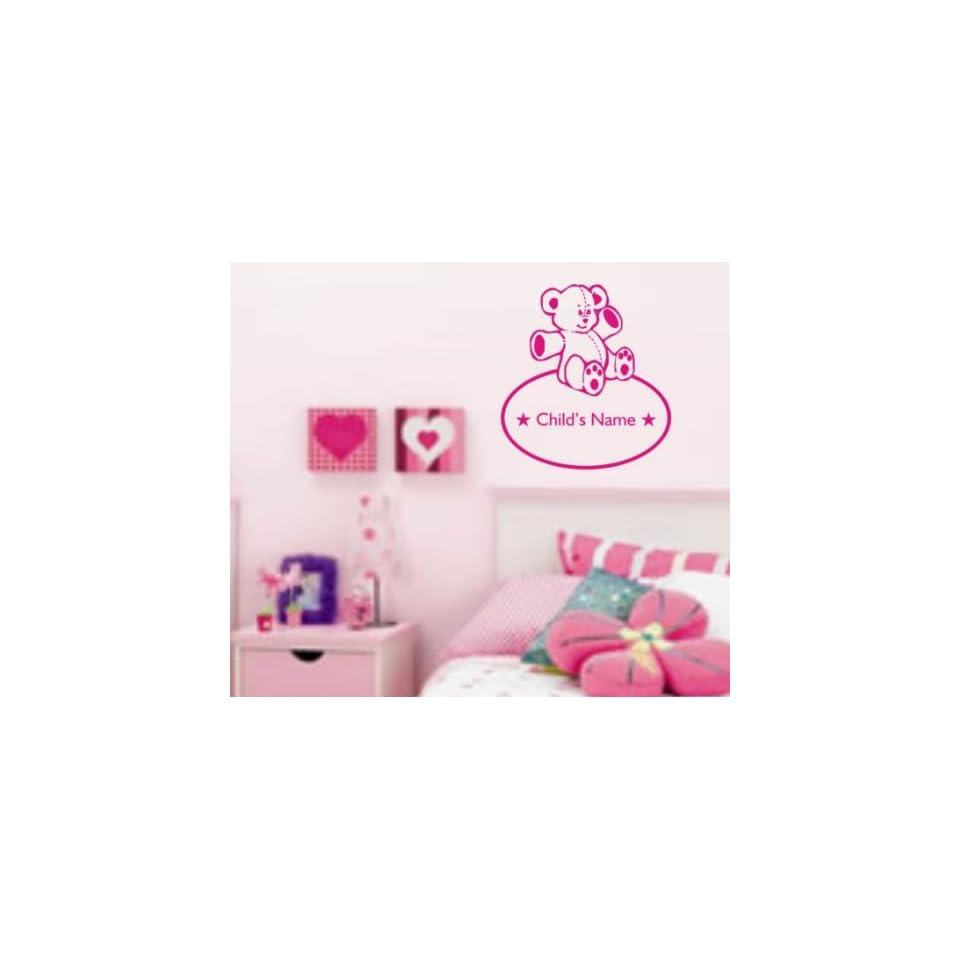 Custom Teddy Bear and Name Decal Sticker Wall Art Graphic Kid Room Nursery Boy Girl