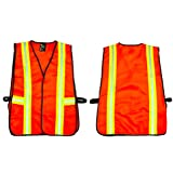 G & F 41113 Industrial Safety Vest with Reflective Strips, Neon Orange