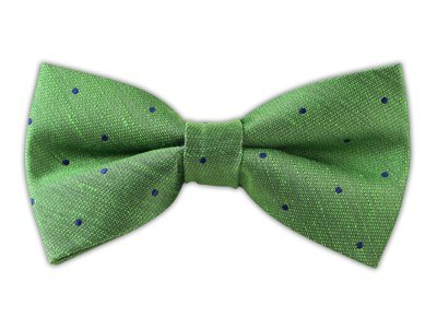 Linen Blend Bulletin Dot Kelly Green Self-Tie Bow Tie