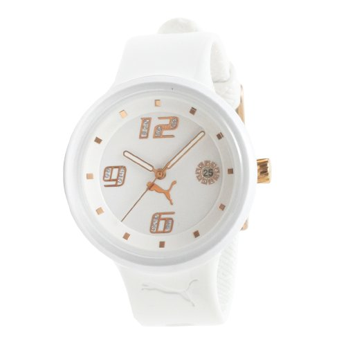 PUMA Women's PU910672002 Slick 3-Hand-Date White and Rosegold Watch
